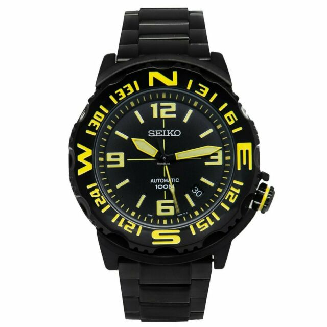 Seiko Superior Automatic SRP449K1 Black Ion-plated Yellow Marker Watch AU*au