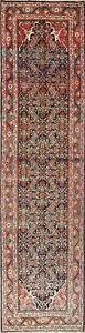 Antique-Geometric-Mahal-Oriental-Hand-Knotted-4-039-x13-039-Wool-Runner-Rug