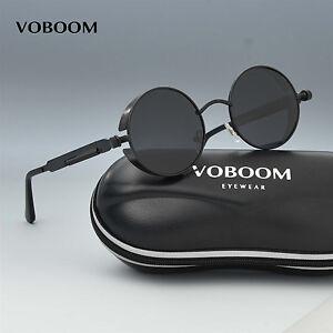 VOBOOM Sonnenbrille Vintage rund wie Steampunk Brillen Polarisiert Verspiegelt v7wXfLRpA