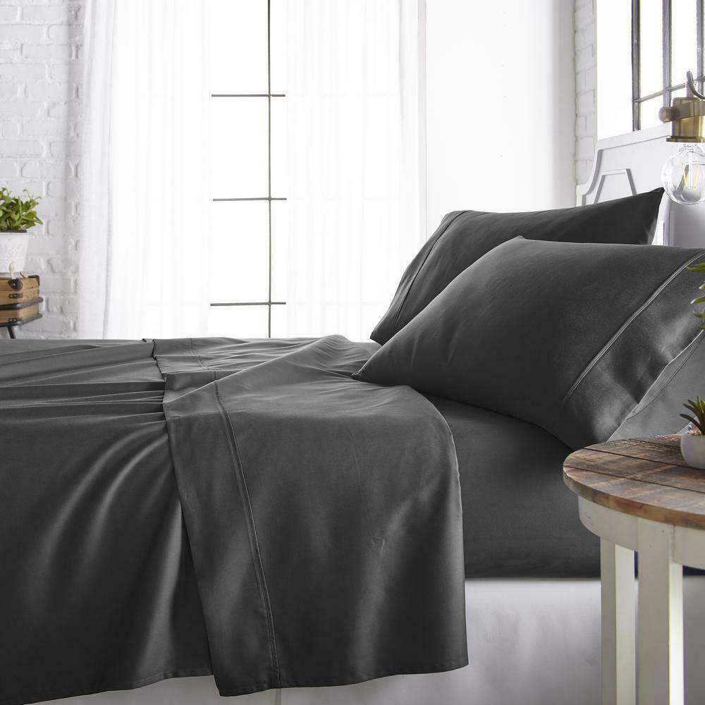 4-Piece Gray 800 Thread Count Cotton Rich King Bed Shee