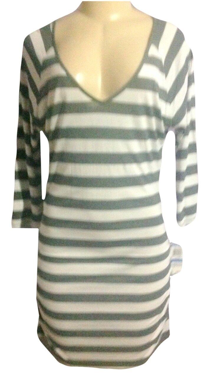INC Causal Hthr grau Ruched Striped Scoop Neck Long Sleeve Mini XLDress