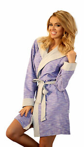 e165e6017d Image is loading Womens-Warm-Hooded-Housecoat-Short-Dressing-Gown-Cotton-