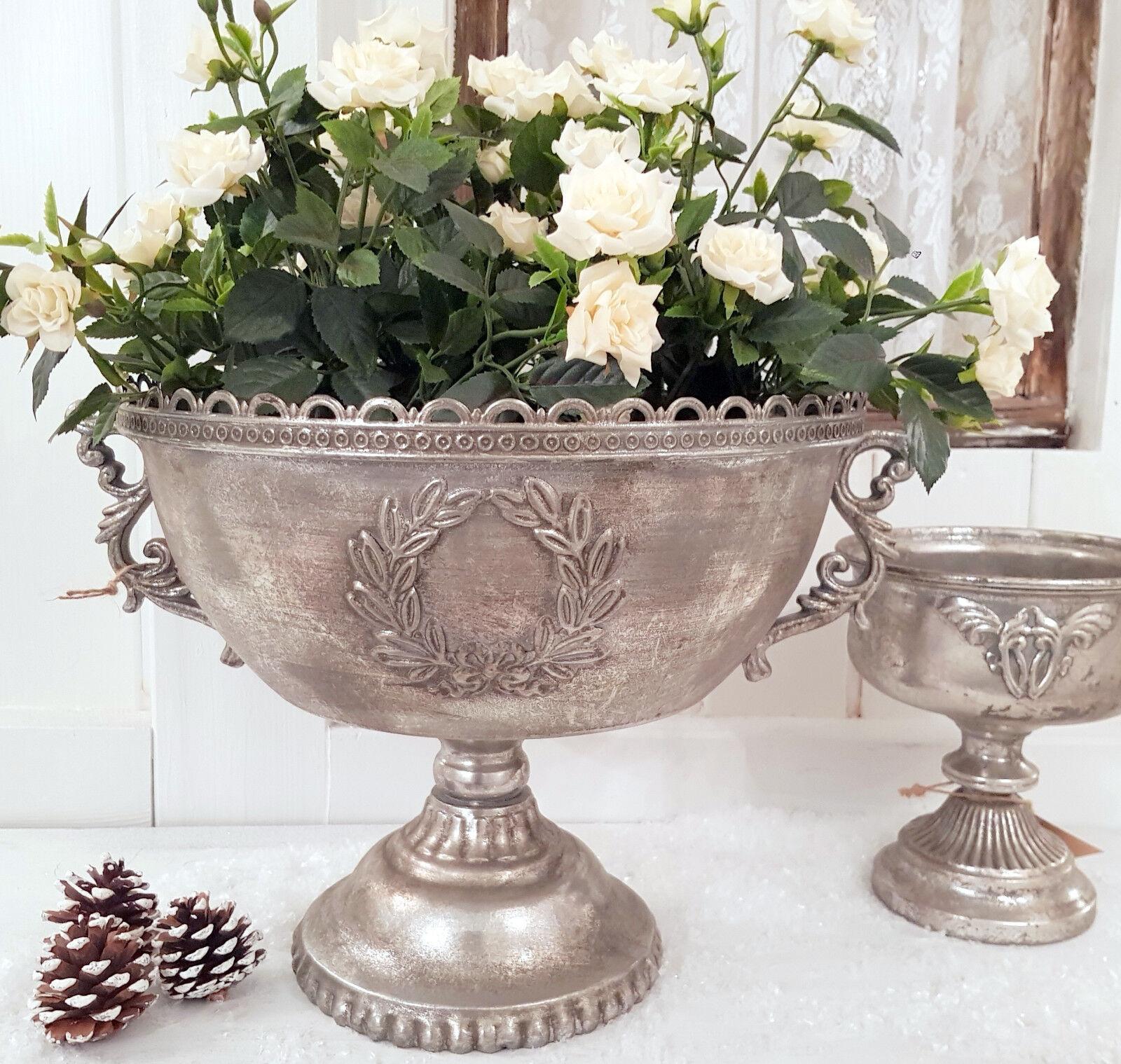 Pokal Amphore XL Pflanzschale Antik Silber Metall Sabby Vintage Landhaus Nr. 20