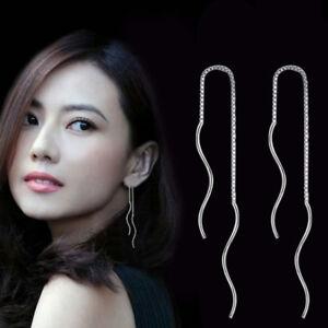 Fashion-Women-925-Sterling-Silver-Chain-Link-Drop-Dangle-Stud-Threader-Earrings