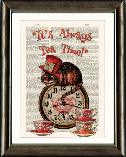 ANTIQUE BOOK PAGE NURSERY PRINT Cheshire Cat,Always Teatime Quote Orange /& Green