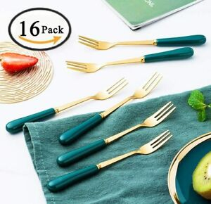 16-Pcs-6-Inches-Forks-Green-3-Prongs-Stainless-Steel-Dessert-Cake-Forks-Gold