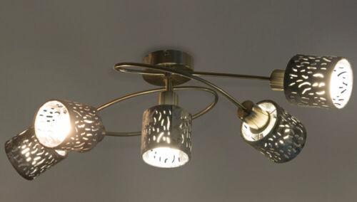 LED Design Decken Leuchte silber Gäste Zimmer Dekor Stanzung Samt Spot Lampe