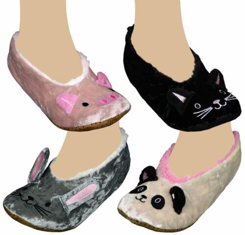 Femmes Mesdames velours 3D Nouveauté Pantoufles-hiver Indoor chaussons chaussettes