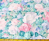 1.4 Yds Pink, White Blue Roses All Cotton Fabric 58 Peter Pan Fabric