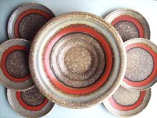 Art Deco Schale 34cm + 6 Teller Carstens Uffrecht Keramik 30s Pottery Uranglasur