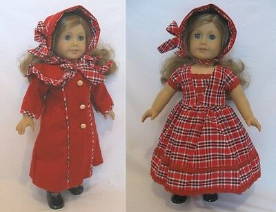"""Doll Clothes 18/"""" Coat Red Wool Dress Plaid Hat Red Plaid Wool Fits AG Dolls"""