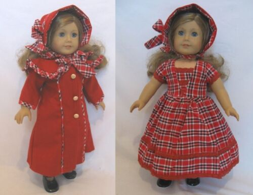 "Victorian Red Coat Dress Hat Set for 18/"" American Girl Doll Clothes LOVV DA BUGG"
