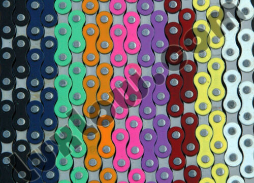 "Purple /& Silver 2Tone Fixie Bicycle Chain 1//2x1//8/"" 112L Schwinn Cruiser Bike BMX"