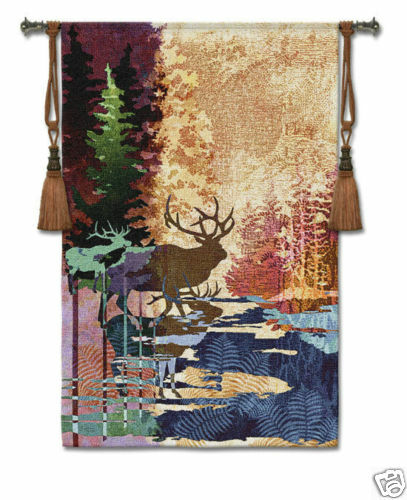 Ghosts Of The Tall Timber Animal Tapestry Tapestry Tapestry Wallhanging Elk Picture 36 x52  c74a34