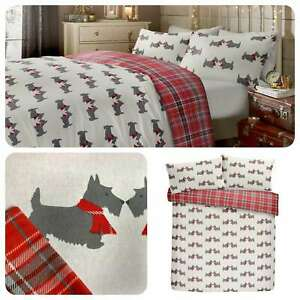 Fusion-SCOTTIE-DOG-Xmas-Tartan-Festive-100-Brushed-Cotton-Duvet-Cover-Set
