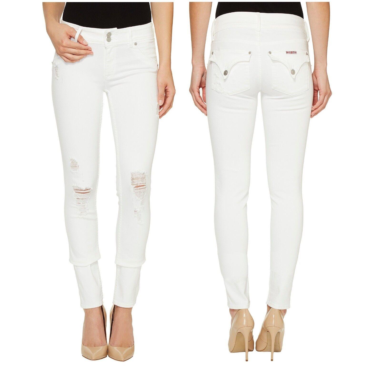 HUDSON damen Collin Slim Skinny Vintage Demolish Rips Weiß Pants Denim Jeans