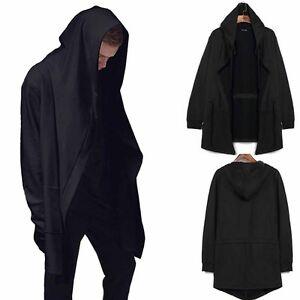 Fashion Men Hooded Jacket Long Cardigan Black Ninja Goth Gothic ...