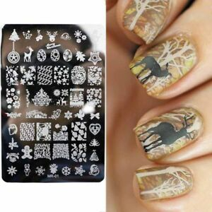 Nail-Art-Stamping-Plates-Image-Plate-CHRISTMAS-Gingerbread-men-Snowflakes-MR01