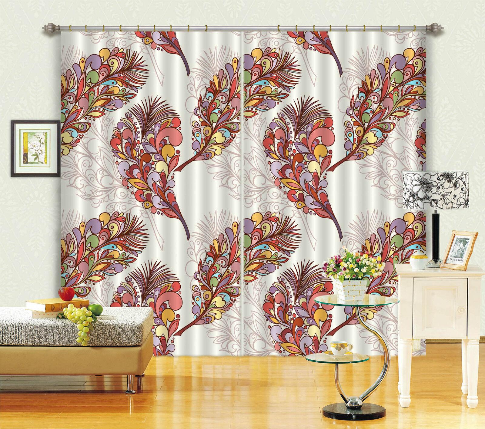 Plumas de 3D 514 Cortinas de impresión de cortina de foto Blockout Tela Cortinas Ventana CA