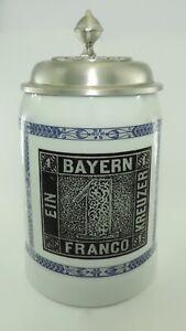 034-150-Jahre-Deutsche-Briefmarken-034-Vintage-Bierkrug-mit-Zinndeckel-mit-Zertifikat