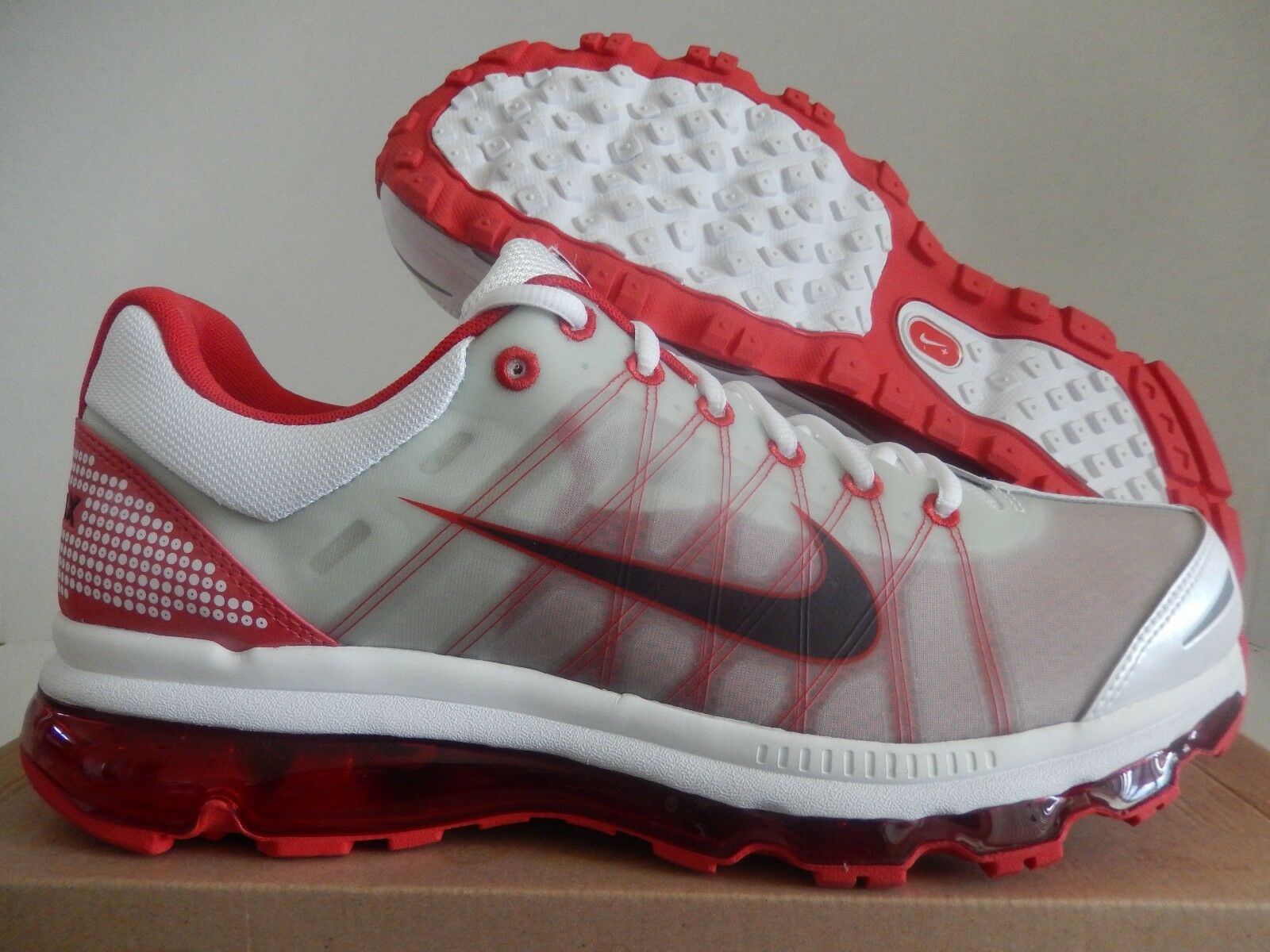 4a9f8ee43de574 NIKE AIR MAX + 2009 WHITE-RED MAHOGANY-SPORT RED SZ 13  486978-166 ...