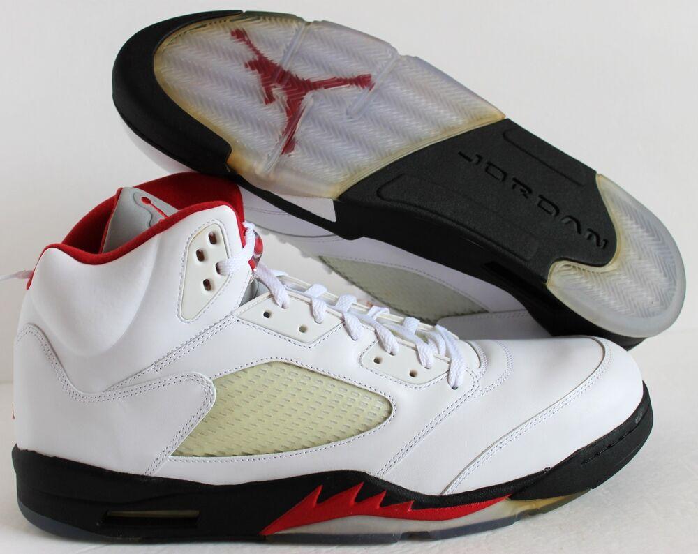 NIKE AIR JORDAN 5 RETRO blanc -FIRE RED-Noir  Chaussures de sport pour hommes et femmes