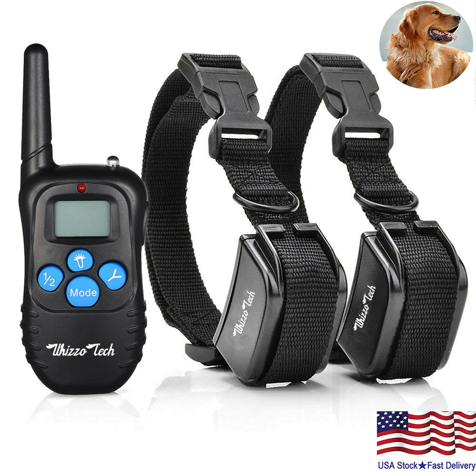 Image 141 - Dog-Shock-Training-Collar-Rechargeable-LCD-Remote-Control-Waterproof-330-Yards