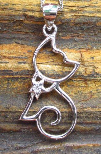 Katze weißer Kristall im Halsband Sterling Silber 925 Anhänger mit Kette