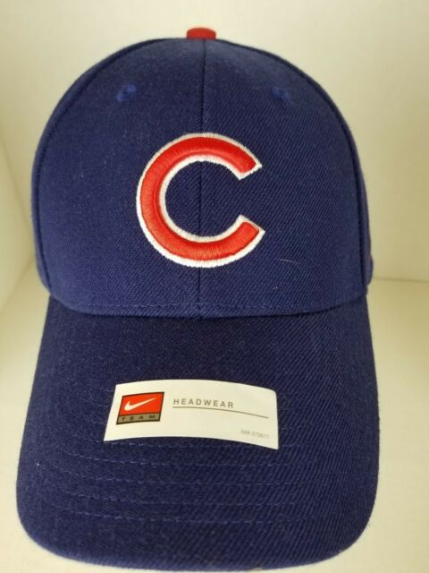 Mens Chicago Cubs Blue Embroidered Baseball Hat Nike New Authentic Velcro