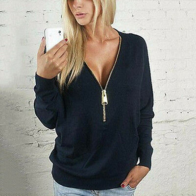Womens Zip V neck Long Sleeve Pullover Jumper Casual Sweater Blouse Tops Shirt