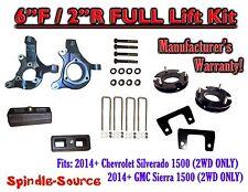 "2014+  Chevrolet Silverado GMC Sierra 1500  6"" inch / 2"" Spindle LIFT KIT  2WD"