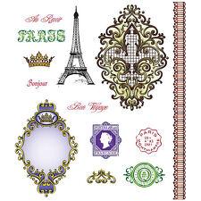 Just Rite Bon Voyage Stamp set Paris Bonjour Shabby Cottage Chic Scrapbook card