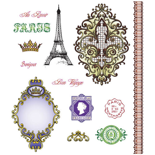 Just Rite Bon Voyage Stamp set Paris Bonjour Shabby Cottage Chic Scrapbook card