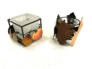 2 Metal Autumn Leaf Fall Pumpkin Tea Light Votive Candle Holders Home Decor