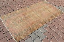 """Vintage Turkish Oushak Small Antique Hand Knotted Carpet Pile Area Rug 37''x70"""""""
