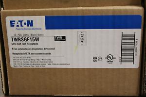 Eaton TWRSGF15W 15 Amp GFCI Self-Test Tamper Resistsnt Duplex Receptacle White