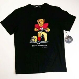 Men-Hudson-100-authentic-short-sleeve-t-shirt-size-large-black-football-bear