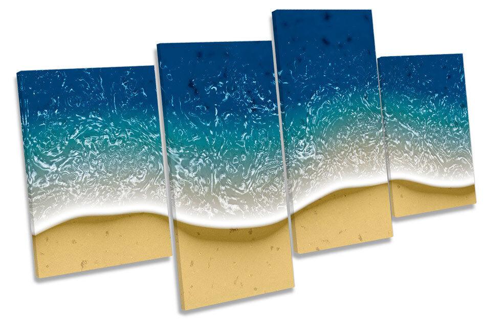Modern Wave Shore Design Beach MULTI CANVAS WALL ART Framed Panel