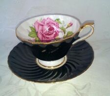 VINTAGE AYNSLEY ENGLAND BONE CHINA CUP & SAUCER BLACK SCALLOPED W/ ROSES