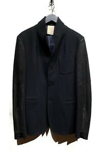 Wooyoungmi-Navy-Wool-Blazer-Jacket-with-Black-Leather-Sleeves