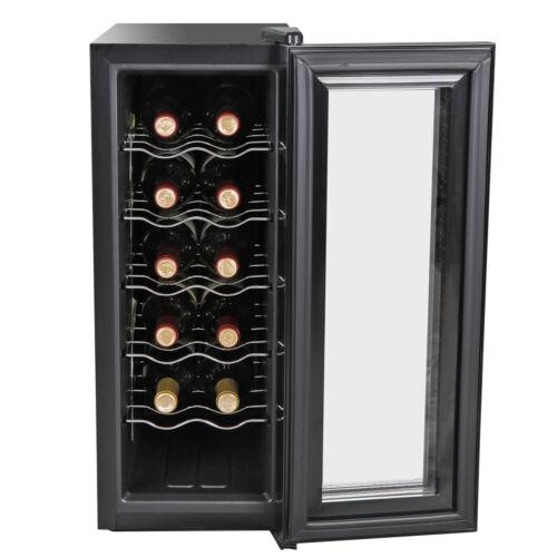Iron Freestanding Wine Refrigerator Compact 12 Bottles Quiet Operation Cooler