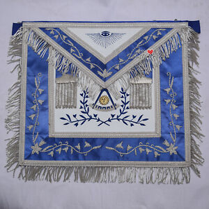 Masonic-Past-Master-Blue-Silk-Border-Apron-Silver-Hand-Embroidery-WLC