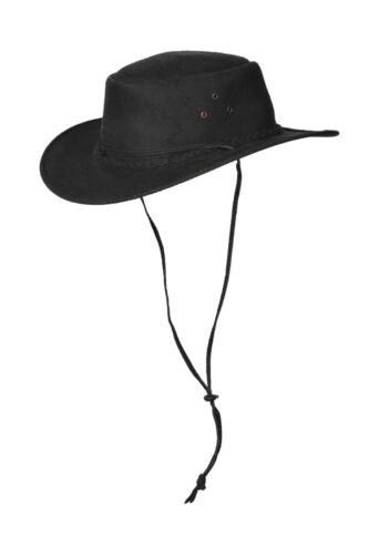 Cappello da Cowboy Cappello Outback Australiano Pelle Sintetica Con Mento Corda Indiana Jones