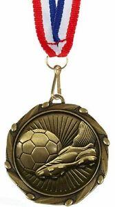 Paquet-de-100-Personnalise-Football-Coffre-amp-Balle-Medailles-amp-Rubans-Grave