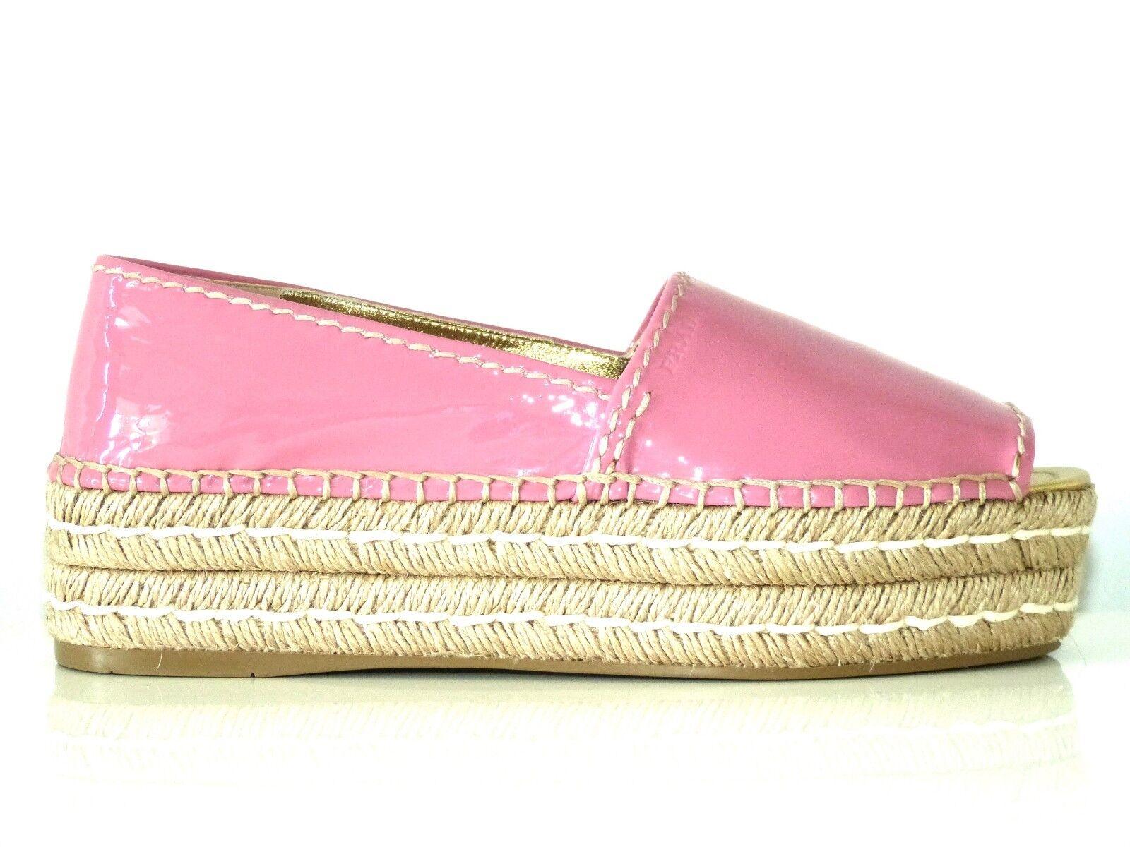 PRADA SCHUHE ESPANDRILLES LACK Schuhe PEEP TOES PETOLA EU:39,5 NEU/NEW