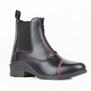 Gallop-Venture-Child-039-s-Faux-leather-Piped-Jodhpur-Paddock-Boots-Pink-Piping