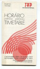 TAP AIR PORTUGAL PRELIMINARY TIMETABLE WINTER 1976/77 HORARIO TP
