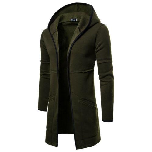 Mens Hoodie Long Cardigan Jacket Casual Warm Hooded Slim Zip Coat Outwear Winter