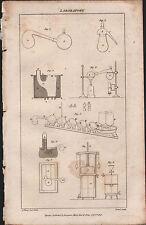 1808 ANTIQUE PRINT ~ LABORATORY ~ VARIOUS EQUIPMENT APPARATUS EXPERIMENTS