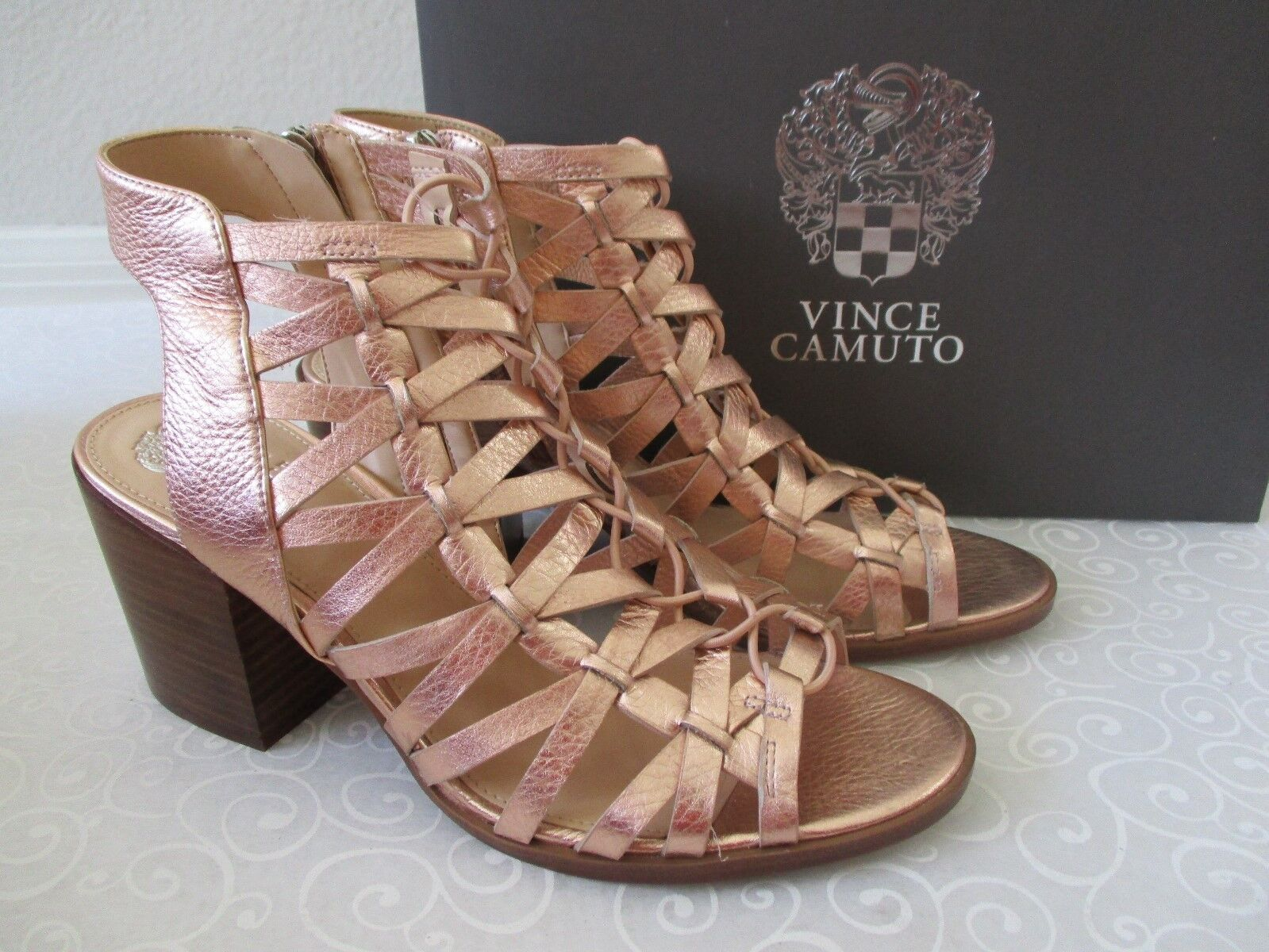 VINCE CAMUTO LIVIAN ROSE GOLD LACE UP OPEN TOE LEATHER SHOES SIZE 9 1/2 M - NEW